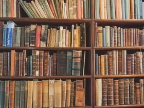 本棚と多数の本